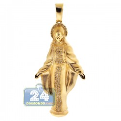 Mens Diamond Virgin Mary Pendant Matte 10K Yellow Gold 0.40ct