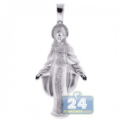 Mens Diamond Virgin Mary Pendant Matte 10K White Gold 0.40ct