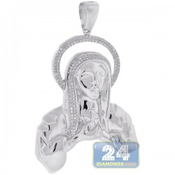 Mens Diamond Praying Jesus Christ Pendant 10K White Gold 0.45ct
