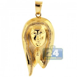 Mens Diamond Praying Jesus Christ Pendant 10K Yellow Gold .22ct