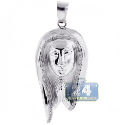 Mens Diamond Praying Jesus Christ Pendant 10K White Gold .22ct