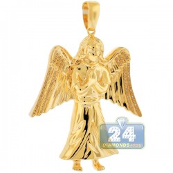Mens Diamond Jesus Christ Angel Pendant 10K Yellow Gold 0.27ct