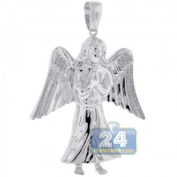 Mens Diamond Jesus Christ Angel Pendant 10K White Gold 0.27ct