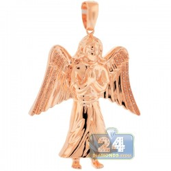 Mens Diamond Jesus Christ Angel Pendant 10K Rose Gold 0.27ct
