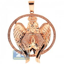 Mens Diamond Halo Angel Jesus Christ Pendant 10K Rose Gold