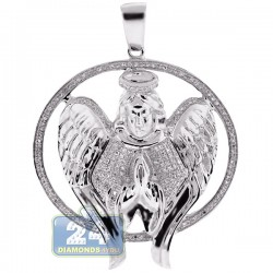 Mens Diamond Halo Angel Jesus Christ Pendant 10K White Gold