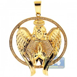 Mens Diamond Halo Angel Jesus Christ Pendant 10K Yellow Gold