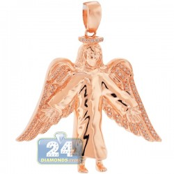 Mens Diamond Jesus Christ Angel Wings Pendant 10K Rose Gold