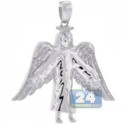 Mens Diamond Jesus Christ Angel Wings Pendant 10K White Gold