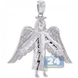 10K White Gold 0.26 ct Diamond Jesus Christ Wings Pendant