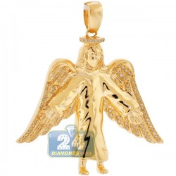 Mens Diamond Jesus Christ Angel Wings Pendant 10K Yellow Gold