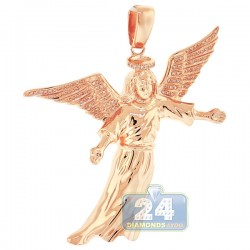 10K Rose Gold 0.31 ct Diamond Flying Jesus Christ Pendant