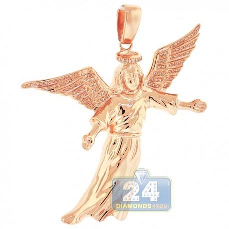 Mens Diamond Flying Jesus Christ Pendant 10K Rose Gold 0.31ct