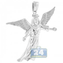 Mens Diamond Flying Jesus Christ Pendant 10K White Gold 0.31ct