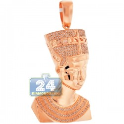 Mens Diamond Pharaoh Half Face Pendant 10K Rose Gold 0.53ct