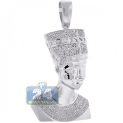10K White Gold 0.53 ct Diamond Pharaoh Half Face Pendant