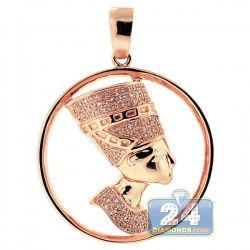 Mens Diamond Halo Pharaoh Round Pendant 10K Rose Gold 0.30ct