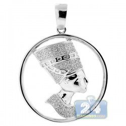 Mens Diamond Halo Pharaoh Round Pendant 10K White Gold 0.30ct