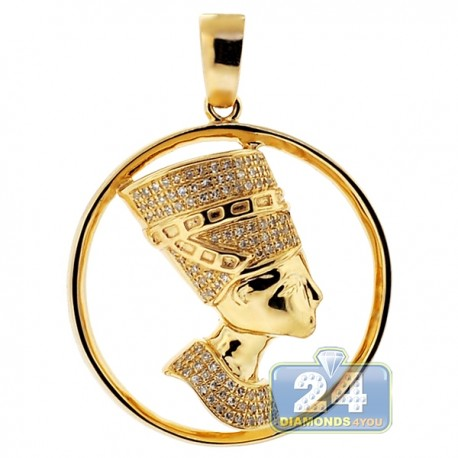 Mens Diamond Halo Pharaoh Round Pendant 10K Yellow Gold 0.30ct