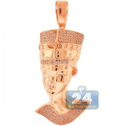 Mens Diamond Egyptian Pharaoh Face Pendant 10K Rose Gold .57ct