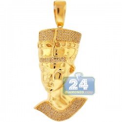 Mens Diamond Egyptian Pharaoh Face Pendant 10K Yellow Gold .57ct