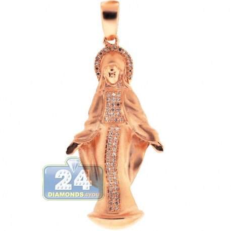 Mens Womens Diamond Virgin Mary Pendant Matte 10K Rose Gold