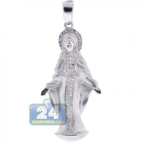 Mens Womens Diamond Virgin Mary Pendant Matte 10K White Gold