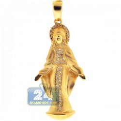 Matte 10K Yellow Gold 0.25 ct Diamond Virgin Mary Pendant