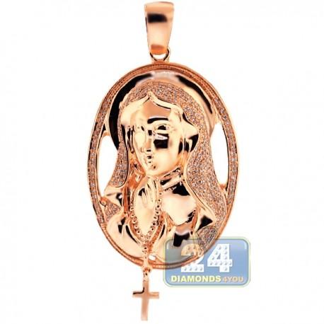 Mens Diamond Halo Virgin Mary Cross Pendant 10K Rose Gold 0.64ct