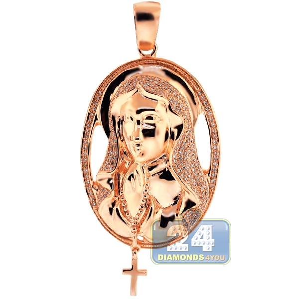 10k rose gold 064 ct diamond virgin mary cross pendant aloadofball Choice Image