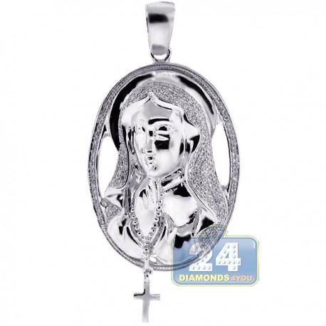 Mens Diamond Halo Virgin Mary Cross Pendant 10K White Gold 0.64ct