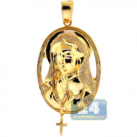 Mens Diamond Halo Virgin Mary Cross Pendant 10K Yellow Gold 0.64ct