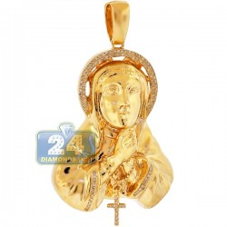 Mens Diamond Virgin Mary Cross Pendant 10K Yellow Gold 0.33ct