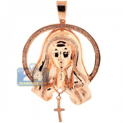 Womens Diamond Virgin Mary Circle Pendant 10K Rose Gold 0.40ct
