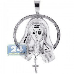 Womens Diamond Virgin Mary Circle Pendant 10K White Gold 0.40ct