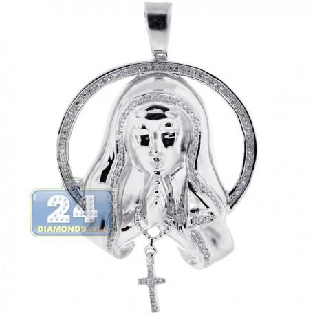Womens Diamond Virgin Mary Circle Pendant 10K White Gold 0.40ct