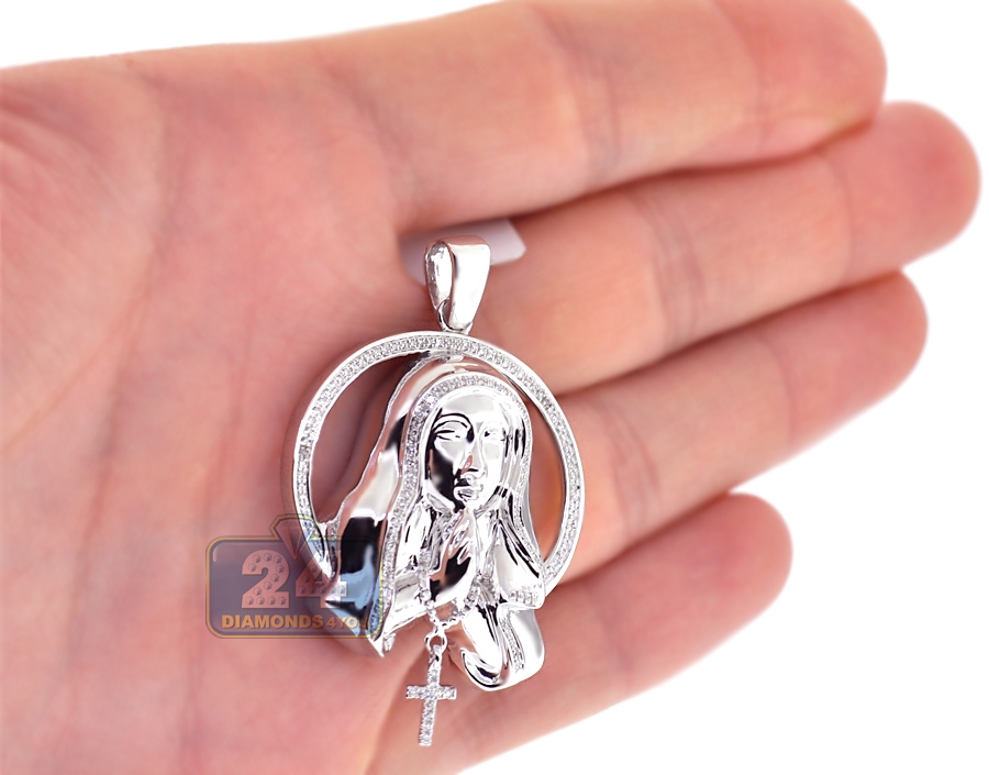 10k white gold 040 ct diamond virgin mary circle pendant next aloadofball Choice Image