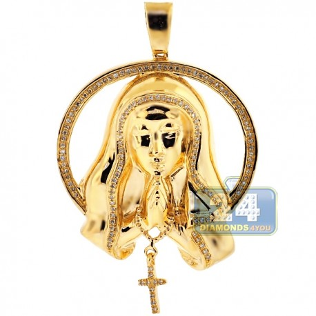 Womens Diamond Virgin Mary Circle Pendant 10K Yellow Gold 0.40ct
