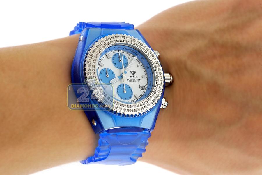 Mens diamond blue watch aqua master sport plastic ct for Aqua marine watches
