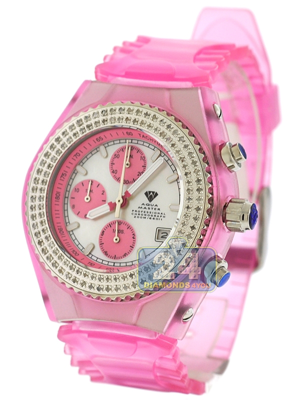 Womens Diamond Pink Watch Aqua Master Sport Plastic 1 00 Ct