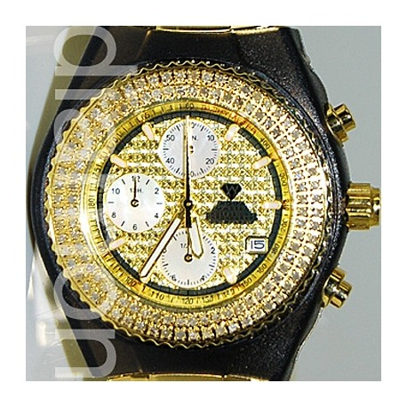 Mens Diamond Yellow Gold Watch Aqua Master Sport 1.00 ct