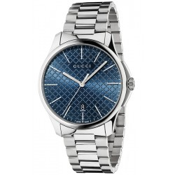 Gucci G-Timeless Blue Diamante Steel Bracelet Watch YA126316