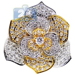 18K Two Tone Gold 1.44 ct Diamond Womens Flower Ring