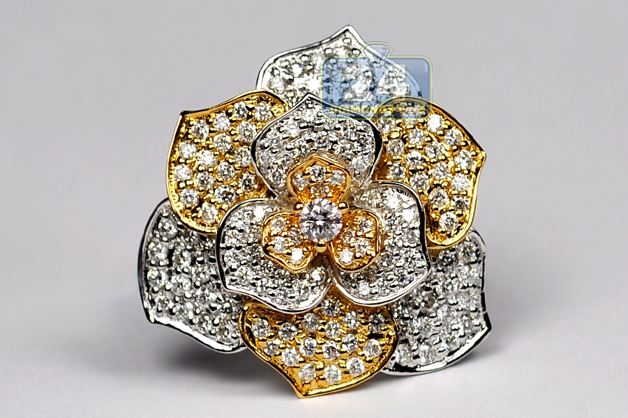 Womens Diamond Rose Flower Ring 18k Two Tone Gold 1 44 Ct