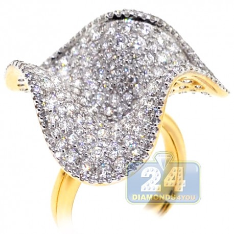 18K Yellow Gold 4.71 ct Diamond Womens Floral Ring