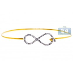 18K Yellow Gold 0.50  ct Diamond Womens Infinity Bangle Bracelet