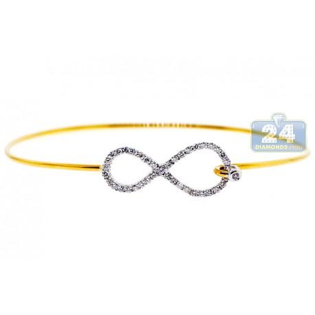 Womens Diamond Infinity Bangle Bracelet 18K Yellow Gold 0.50 ct