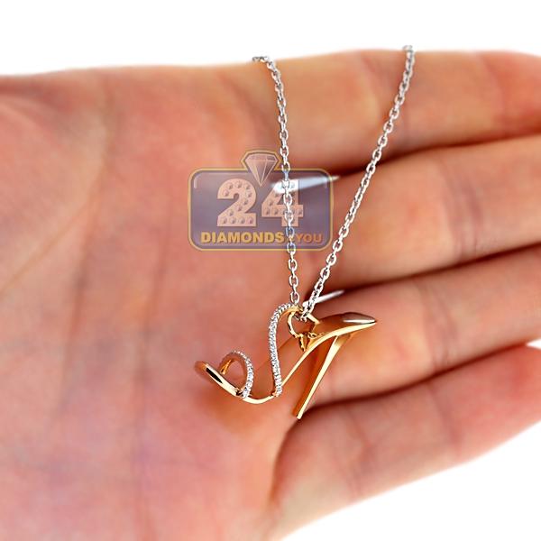 Womens Diamond High Heel Shoe Pendant Necklace 18k Rose