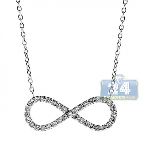 "Womens Diamond Infinity Pendant Necklace 18K White Gold 18"" 0.25ct"