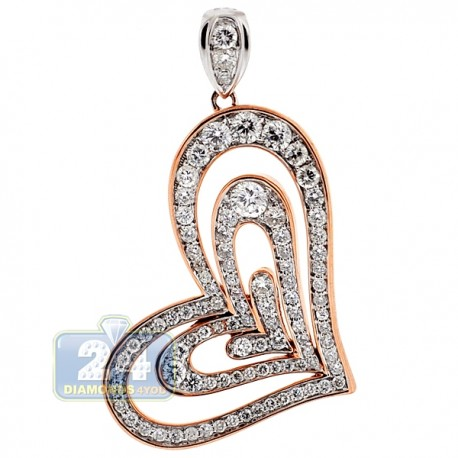 Womens Diamond Layered Heart Pendant 18K Two Tone Gold 1.81ct